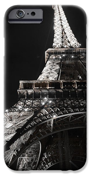Cultural Icon iPhone Cases - Eiffel Tower Paris France Night lights iPhone Case by Patricia Awapara