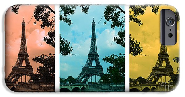 Cultural Icon iPhone Cases - Eiffel Tower Paris France Trio iPhone Case by Patricia Awapara