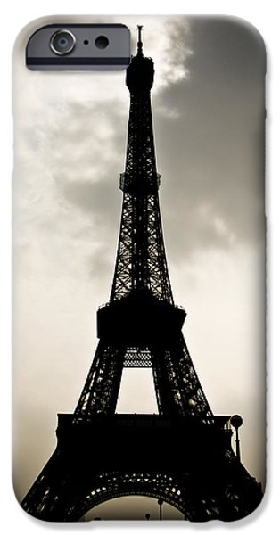 Industrial Icon iPhone Cases - Eiffel Tower Silhouette iPhone Case by Nila Newsom