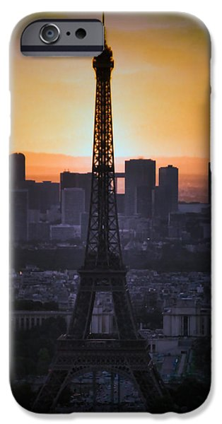 The View Mixed Media iPhone Cases - Eiffel Tower Sunset iPhone Case by Debra     Vatalaro