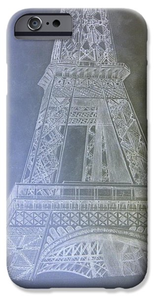Inverted Drawings iPhone Cases - Eiffil Tower inverted iPhone Case by Irving Starr