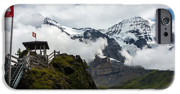 Grindelwald iPhone Cases - Eiger and Monk in the Clouds - Swiss Alps iPhone Case by Gary Whitton