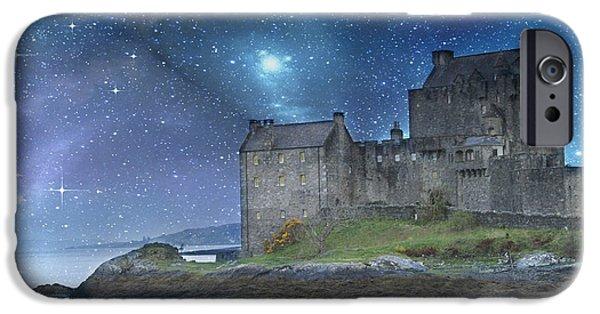 Photomanipulation iPhone Cases - Eilean Donan Castle iPhone Case by Juli Scalzi