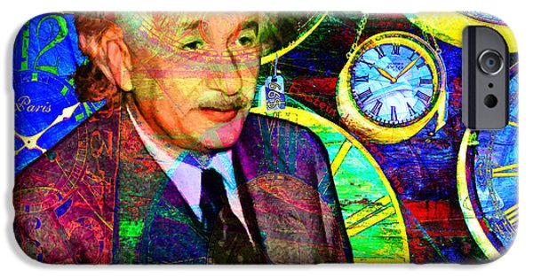 E=mc2 iPhone Cases - Einstein Discovers Time Is Equal To Money 5D24472 20140910 square iPhone Case by Wingsdomain Art and Photography