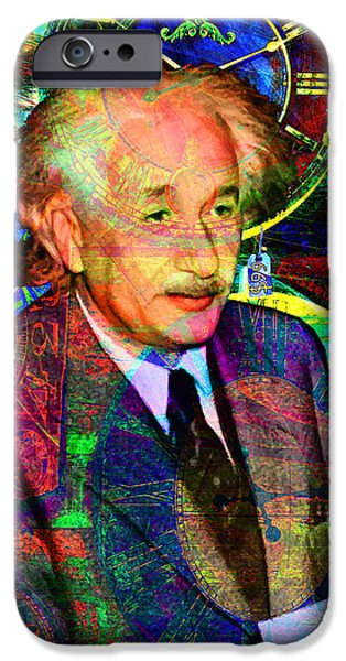 E=mc2 iPhone Cases - Einstein Discovers Time Is Equal To Money 5D24472 20140910 Vertical iPhone Case by Wingsdomain Art and Photography