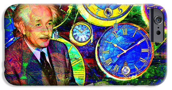 E=mc2 iPhone Cases - Einstein Discovers Time Is Equal To Money 5D24472 20140910 iPhone Case by Wingsdomain Art and Photography