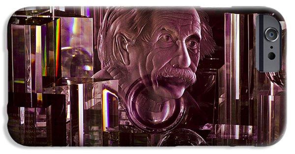 Christi Kraft iPhone Cases - Einstein in Crystal - Purple iPhone Case by Christi Kraft