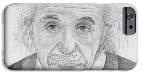 Einstein Drawings iPhone Cases - Einstein Portrait iPhone Case by Jose Valeriano