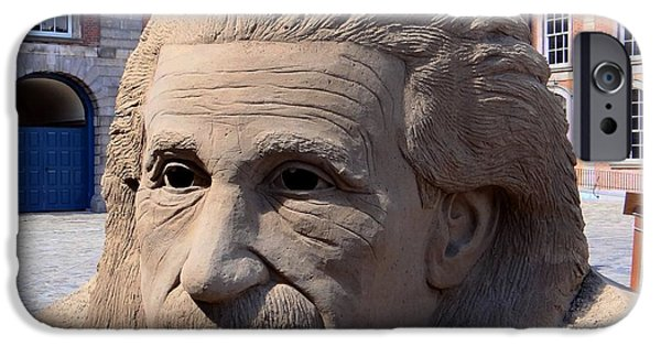 Sand Castles iPhone Cases - Einstein Sand Sculpture iPhone Case by Keith Stokes