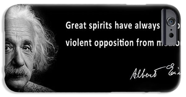 Autographed iPhone Cases - EINSTEIN SPEAKS about GREAT SPIRITS iPhone Case by Daniel Hagerman