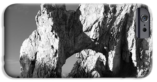 Rocks iPhone Cases - El Arco in Black and White iPhone Case by Sebastian Musial