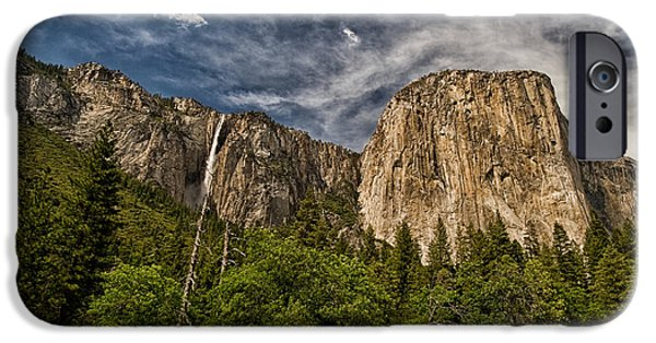 Yosemite National Park iPhone Cases - El Capitan and Ribbon Falls iPhone Case by Cat Connor