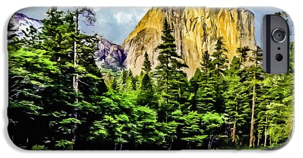 Cathedral Rock iPhone Cases - El Capitan Yosemite River Painting iPhone Case by  Bob and Nadine Johnston