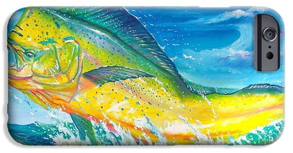 Shark Paintings iPhone Cases - El dorado iPhone Case by Yusniel Santos