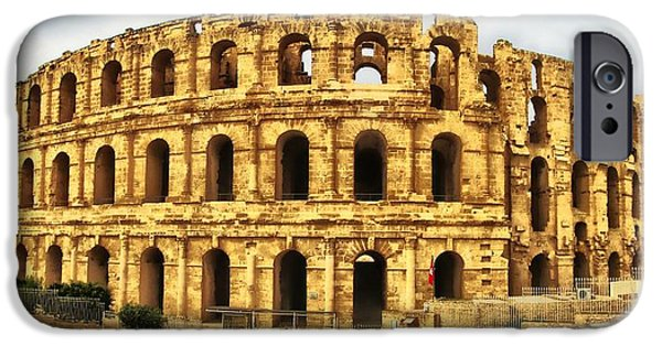 Architectur iPhone Cases - El Jem Colosseum iPhone Case by Dhouib Skander