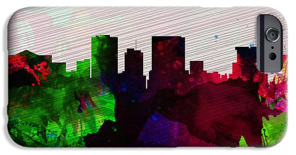 Horizon Paintings iPhone Cases - El Paseo City Skyline iPhone Case by Naxart Studio