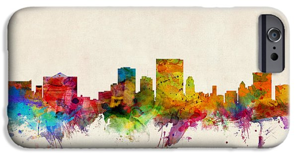 States iPhone Cases - El Paso Texas Skyline iPhone Case by Michael Tompsett