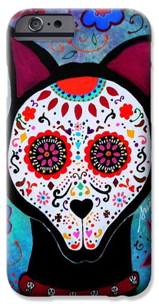 Bestfriend iPhone Cases - El Perro Day Of The Dead iPhone Case by Pristine Cartera Turkus