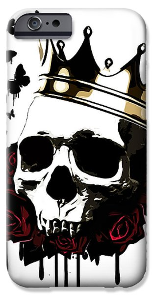 Crown iPhone Cases - El Rey de la Muerte iPhone Case by Nicklas Gustafsson