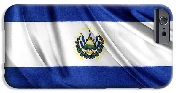 Textile Photographs iPhone Cases - El Salvador flag iPhone Case by Les Cunliffe