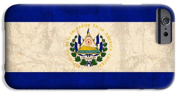 Nation iPhone Cases - El Salvador Flag Vintage Distressed Finish iPhone Case by Design Turnpike