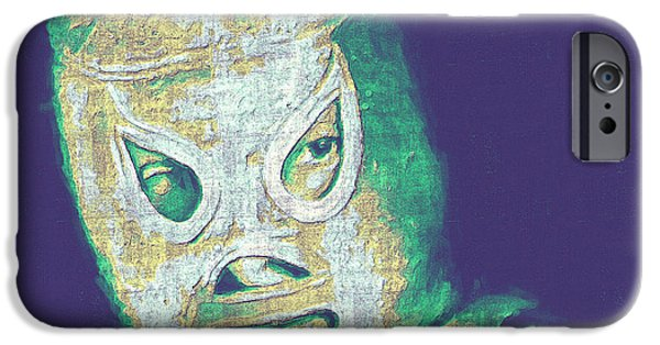 Wwf iPhone Cases - El Santo The Masked Wrestler 20130218v2 iPhone Case by Wingsdomain Art and Photography