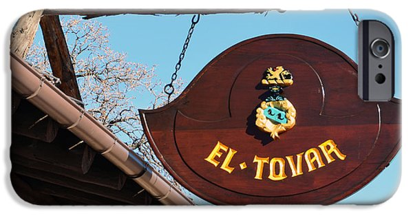 Arizona iPhone Cases - El Tovar Historic Hotel Entrance Sign in Grand Canyon Village Square iPhone Case by Shawn O