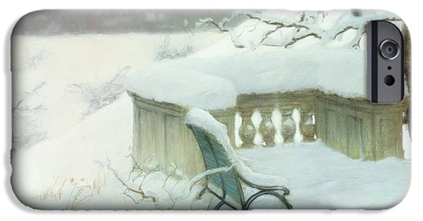 Snow Pastels iPhone Cases - Elbpark in Hamburg iPhone Case by Fritz Thaulow
