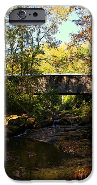 Covered Bridge iPhone Cases - Elder Mill Covered Bridge 2 iPhone Case by Reid Callaway