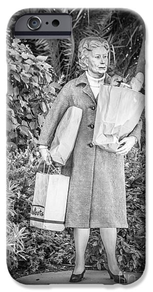 Statue Portrait Photographs iPhone Cases - Elderly Shopper Statue Key West - Black and White iPhone Case by Ian Monk