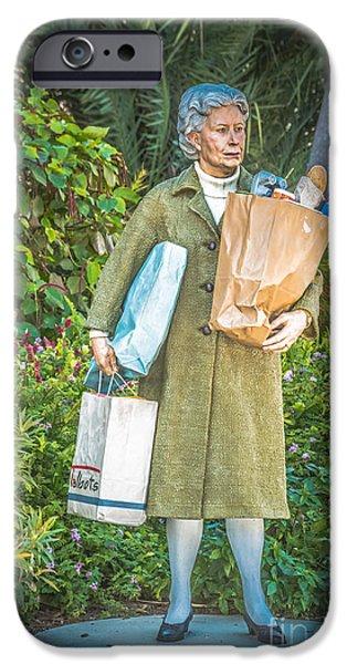 Statue Portrait Photographs iPhone Cases - Elderly Shopper Statue Key West - HDR Style iPhone Case by Ian Monk