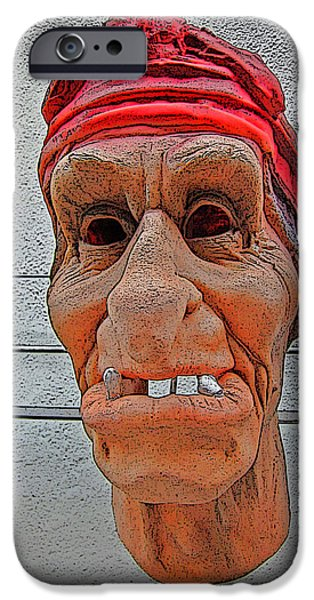 Charles Bridge Digital Art iPhone Cases - Elderly Woman Behind The Counter In A Small Town  iPhone Case by Andy Za