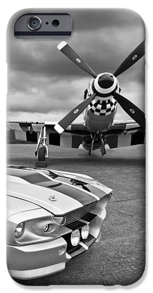 Old Cars iPhone Cases - Eleanor Mustang with P51 Black and White iPhone Case by Gill Billington