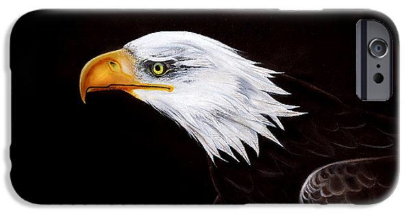 American Eagle Paintings iPhone Cases - Eleanor the Eagle iPhone Case by Adele Moscaritolo