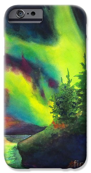 Park Scene Paintings iPhone Cases - Electric Green in the Sky 2 iPhone Case by Kathy Braud