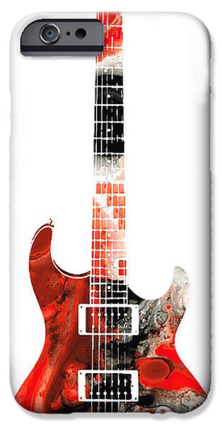 Player Mixed Media iPhone Cases - Electric Guitar - Buy Colorful Abstract Musical Instrument iPhone Case by Sharon Cummings