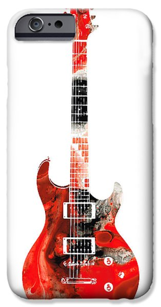 Folk Mixed Media iPhone Cases - Electric Guitar - Buy Colorful Abstract Musical Instrument iPhone Case by Sharon Cummings