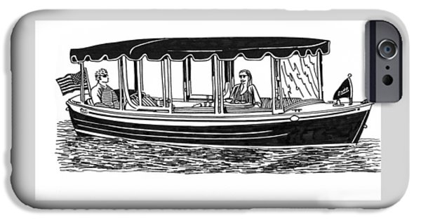 Electric Drawings iPhone Cases - Electric Harbor Launch iPhone Case by Jack Pumphrey