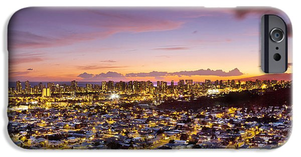 City Scape Photographs iPhone Cases - Electric Honolulu iPhone Case by Sean Davey