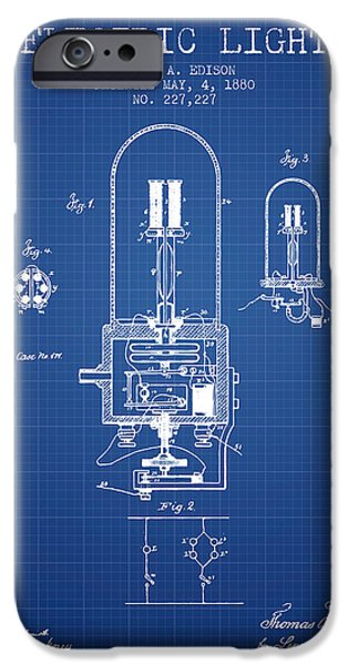 Edison iPhone Cases - Electric Light Patent from 1880 - Blueprint iPhone Case by Aged Pixel