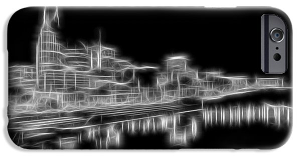 Nashville Architecture iPhone Cases - Electric Nashville Skyline At Night iPhone Case by Dan Sproul