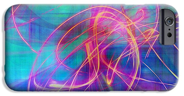 Streams Of Sparks iPhone Cases - Electric Neon Swirls of Light Abstract iPhone Case by Judy Palkimas