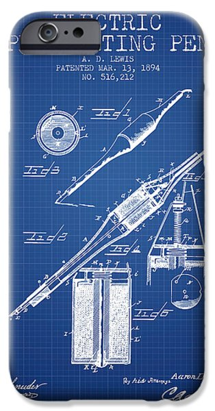 Pen Digital Art iPhone Cases - Electric Perforating Pen Patent from 1894 - Blueprint iPhone Case by Aged Pixel