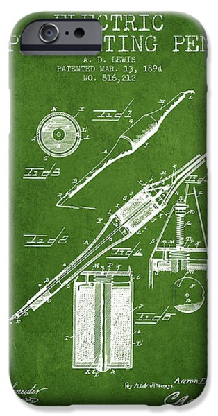 Pen Digital Art iPhone Cases - Electric Perforating Pen Patent from 1894 - Green iPhone Case by Aged Pixel