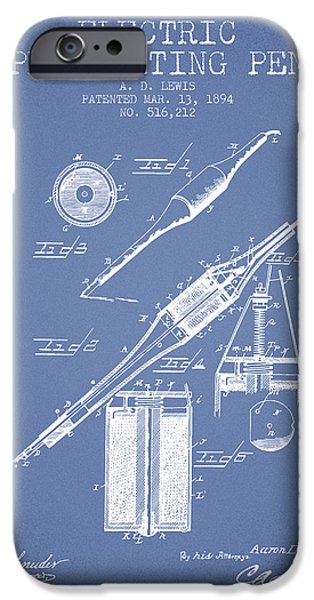 Pen Digital Art iPhone Cases - Electric Perforating Pen Patent from 1894 - Light Blue iPhone Case by Aged Pixel