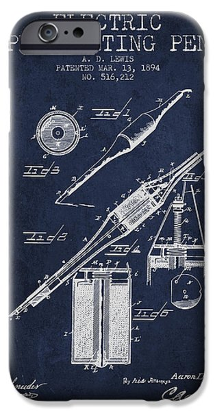 Pen Digital Art iPhone Cases - Electric Perforating Pen Patent from 1894 - Navy Blue iPhone Case by Aged Pixel