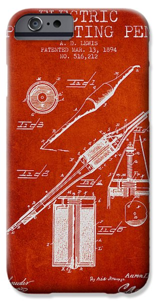 Pen Digital Art iPhone Cases - Electric Perforating Pen Patent from 1894 - Red iPhone Case by Aged Pixel