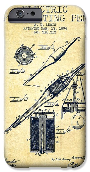 Pen Digital Art iPhone Cases - Electric Perforating Pen Patent from 1894 - Vintage iPhone Case by Aged Pixel