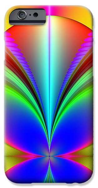 Electric Rainbow Orb Fractal iPhone Case by Rose Santuci-Sofranko