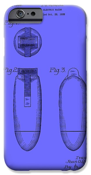 Electric Drawings iPhone Cases - Electric Razor Patent 1939 iPhone Case by Mountain Dreams